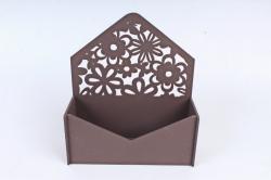 Подарочная упаковка-конверт с цветами  МДФ 3мм, окрашен., Коричневый, ПУ307-02-1717