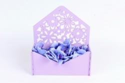 Подарочная упаковка-конверт с цветами МДФ 3мм, окрашен., Сиреневый, ПУ307-02-0909