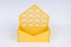 """Подарочная упаковка-конверт с узором """"ёлочка""""   МДФ 3мм, Желтый, ПУ322-02-1616"""