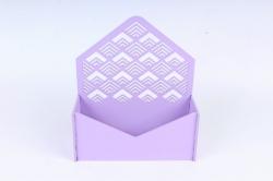 """Подарочная упаковка-конверт с узором """"ёлочка""""  МДФ 3мм, Сиреневый, ПУ322-02-0909"""