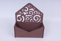 Подарочная упаковка-конверт с вензелями  МДФ 3мм, Коричневый  ПУ303-02-1717