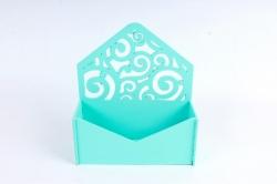 Подарочная упаковка-конверт с вензелями  МДФ 3мм, Тиффани  ПУ303-02-2626