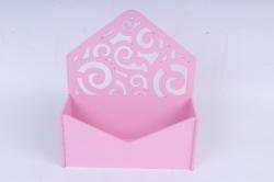 Подарочная упаковка-конверт с вензелями  МДФ 3мм,  Розовый ПУ303-02-0505