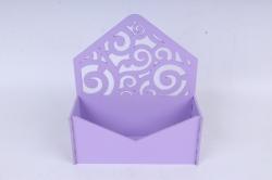 Подарочная упаковка-конверт с вензелями  МДФ 3мм,  Сиреневый  ПУ303-02-0909