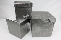 Подарочные коробки - Коробка набор из 3 шт. Куб Серебро 21х21х21см. SD3157