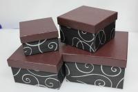 Подарочные коробки - Коробка набор из 4 шт. Квадрат черный с серебреными завитками 14,5х14,5х8,5см. SD3007-2