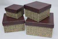 Подарочные коробки - Коробка набор из 4 шт. Квадрат Плетенка 14,5х14,5х8,5см. SD3007-3