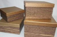 Подарочные коробки - Коробка набор из 4х Квадрат коричневый с золотой полосой 23х23х14 MJ2156-3