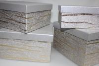 Подарочные коробки - Коробка набор из 4х Квадрат серебреный с золотой полосой 23х23х14 MJ2156-4