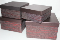 Подарочные коробки - Коробка набор из 4х Квадрат вишневый с красной полосой 23х23х14 MJ2156-2