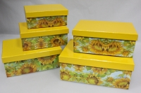 Подарочные коробки - Коробка набор из 5 шт.  Прямоугольник Подсолнухи 26х17х11см. SY9181-006