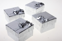 Подарочные коробки - Квадрат с бантом золото-серебро 4,5х4,5х3см (24) 10009-3