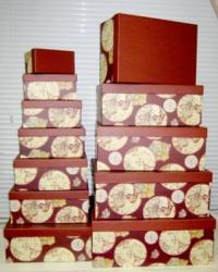 Подарочные Коробки (набор из 10 шт) Прямоугольник 37х29х16 см SY605 - Географические карты