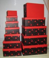 Подарочные Коробки (набор из 10 шт) Прямоугольник 37х29х16 см SY605 - Красные сердца на чёрном