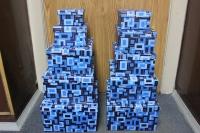 Подарочные коробки - (набор из 10шт) Прямоугольник (коричневый, серый, голубой) с квадратами 36,5х28,5х16,3 2717