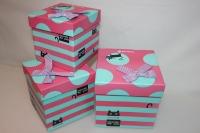 Подарочные коробки - (набор из 3шт) Куб с бантом 16,5х16,5х16,5см ZF-005-3 цвета в ассортименте