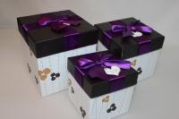 Подарочные коробки - (набор из 3шт) Куб с бантом  17х17х17см CF-001004-3