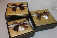 Подарочные коробки - (набор из 3шт) Квадрат с бантом 21х21х8см CF-206-3
