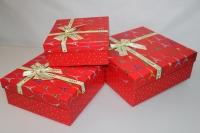 Подарочные коробки - (набор из 3шт) Квадрат с бантом 26х26х10см ZF-006-3 цвета в ассортименте