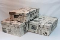 Подарочные коробки - (набор из 3шт) Прямоугольная Газета 41х29х15см 52822-2 цвета в ассортименте