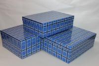Подарочные коробки - (набор из 3шт) Прямоугольная Клетка 41х29х15см 52822-1 цвета в ассортименте