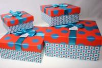 Подарочные коробки - (набор из 4шт) Квадрат с бантом 26,5х26,5х11,7см H013-067