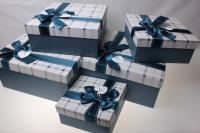 Подарочные коробки - (набор из 5шт) Квадрат с бантом 32,5х32,5х15см 5301АВ