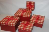 Подарочные коробки - (набор из 5шт) Квадрат в клетку с бантом 23х23х13см CF-0018-5