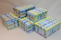 Подарочные коробки - (набор из 5шт) Прямоугольная Голубая шотланка 26х17х11см SY9181-045