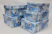 Подарочные коробки - (набор из 5шт) Прямоугольник 28х20х11 П-17 рисунки в ассортименте