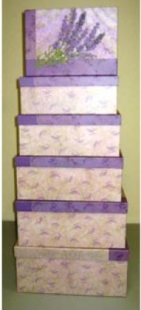 Подарочные Коробки (набор из 6 шт) Прямоугольник 38х30х17,5 см GD390 - Лаванда