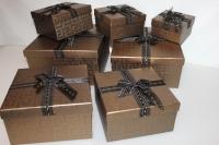 Подарочные коробки - (набор из 7шт) Квадрат с бантом 22х22х11,5см CF-0021-7