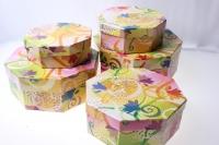 Подарочные Коробки набор восьмигранник (d=23, h=8)  В-18 (5 шт.) рисунки в ассортименте