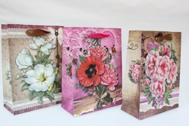 Подарочные пакеты  (бумажный пакет) - Люкс Натюрморт Цветы (18х24) (12шт в уп)