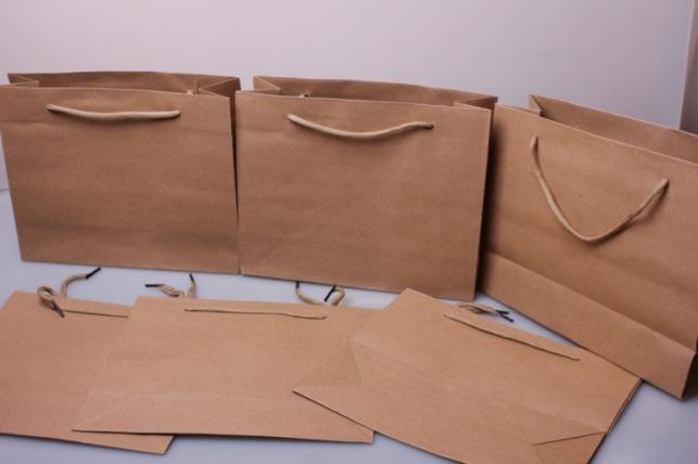 Подарочные пакеты - КРАФТ однотонный 25*20*9  (12 шт/уп)