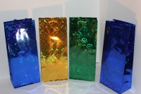 Подарочные пакеты под бутылку голография  бутылка 15*35 (20 шт/уп)