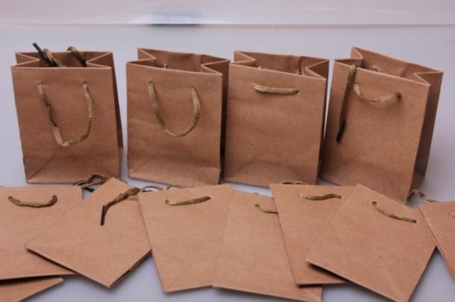 Подарочные пакеты - Сумка КРАФТ однотонный 8*11*5  (12 шт/уп)