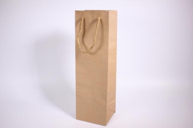 Подарочные пакеты - Сумка КРАФТ Под Бутылку однотонная 10х30х9см (12 шт/уп) (цена за 1 шт)