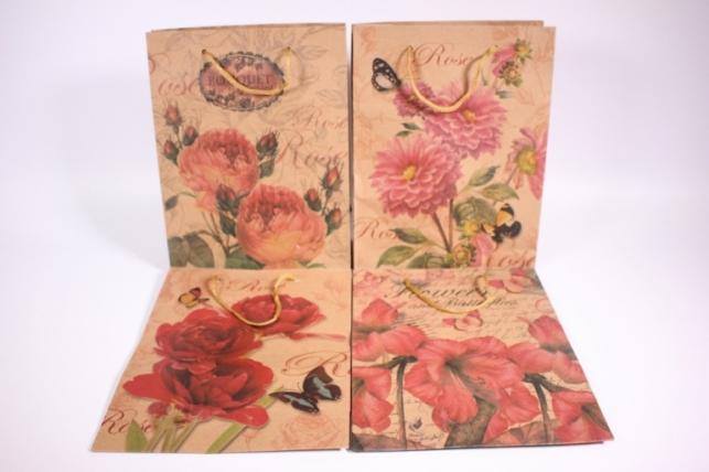 Подарочные пакеты - Сумка КРАФТ (Винтаж цветы) рисунки в ассортименте 19x25x8  (12 шт/уп) (цена за 1 шт) 12/158М