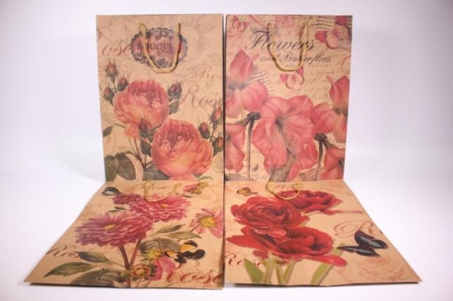 Подарочные пакеты - Сумка КРАФТ (Винтаж цветы) рисунки в ассортименте 27*37*9  (12 шт/уп) (цена за 1 шт) 12/158L