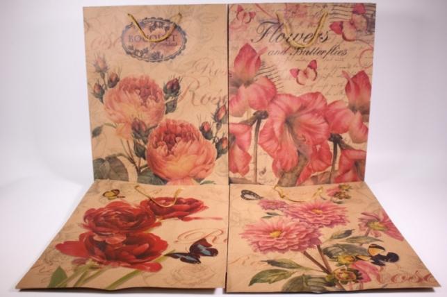 Подарочные пакеты - Сумка КРАФТ (Винтаж цветы) рисунки в ассортименте 31x41x9  (12 шт/уп) (цена за 1 шт) 12/15XL