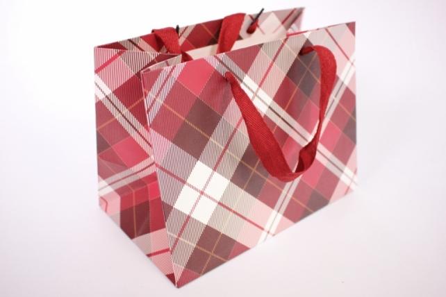 Подарочные пакеты -СумкаЛюкс- КлеткаКрасная(24*18*14)(12шт/уп)012L/010