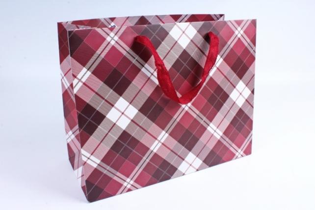 Подарочные пакеты -СумкаЛюкс- КлеткаКрасная(32*26*14)(12шт/уп)011L