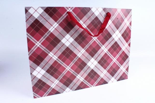 Подарочные пакеты -СумкаЛюкс- КлеткаКрасная(47*37*14)(12шт/уп)012L