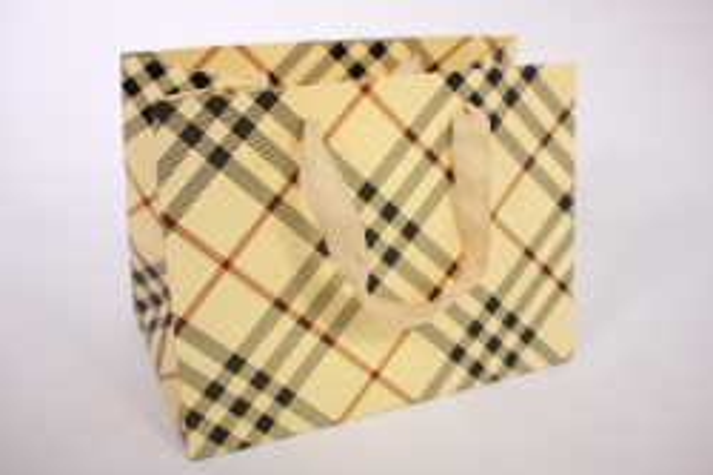 Подарочные пакеты -СумкаЛюкс- КлеткаШампань(24*18*14)(12шт/уп)012L/010