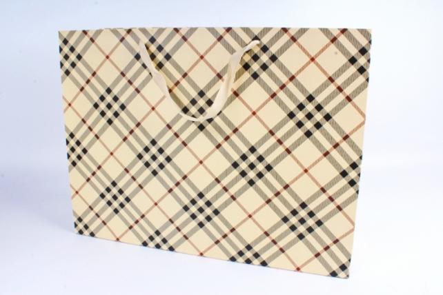 Подарочные пакеты -СумкаЛюкс- КлеткаШампань(47*37*14)(12шт/уп)012L