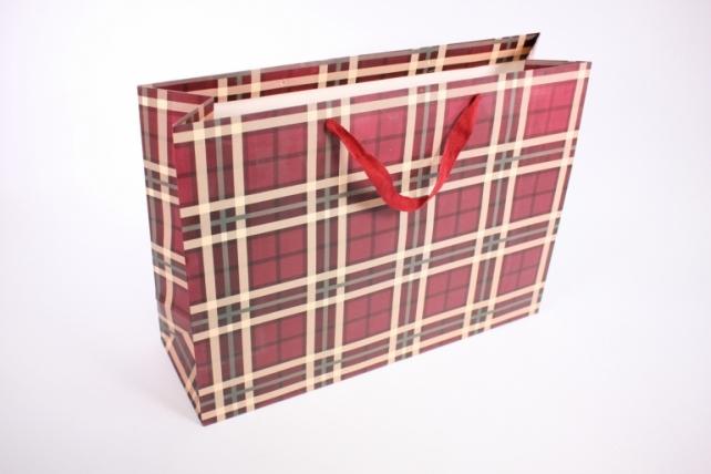 Подарочные пакеты -СумкаЛюкс- КлеткаВишня(47*37*14)(12шт/уп)012L