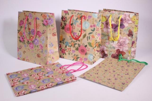 Подарочные пакеты - Сумка Люкс  Крафт Цветы  (18*23*10)  (20 шт/уп) 10 микс - Код 422L
