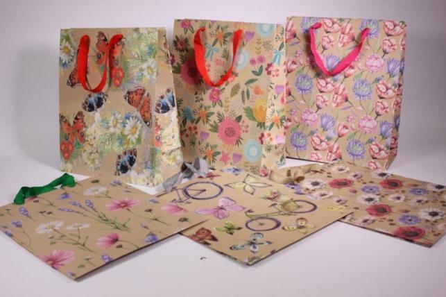Подарочные пакеты - Сумка Люкс Крафт Цветы (26*32*12)  (20 шт/уп) 10 микс - Код 421-1 цена указана за 1шт.