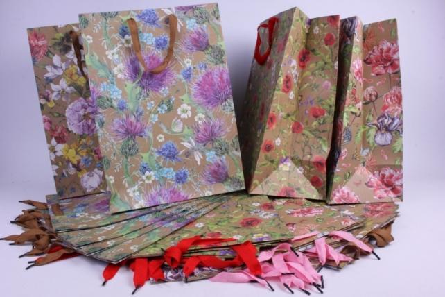 Подарочные пакеты - Сумка  Люкс  Крафт Цветы  (31*44*19)  (20 шт/уп)   L445  Цена за 1шт